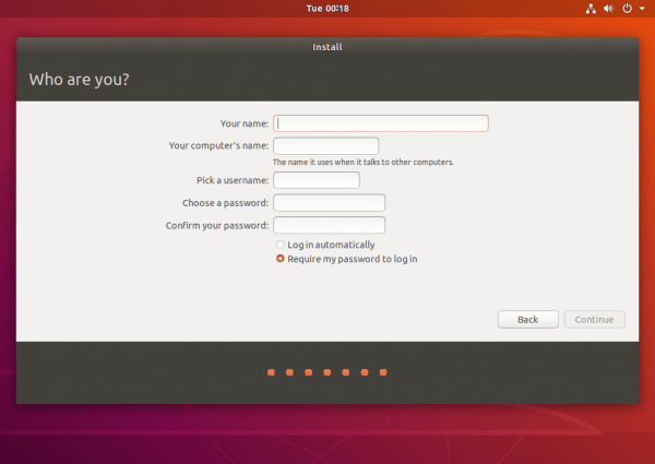 username password ubuntu